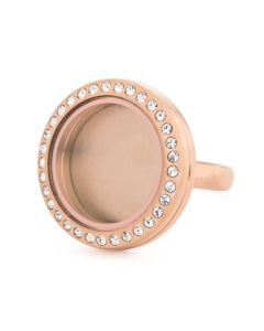 Rose Gold With Crystals Medium Locket Ring - Size 9